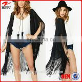 New 2014 Fashion Spring Summer Women Clothing Tassel Punk Jacket Bat Sleeve Chiffon Wrap High Street Tippet Coat