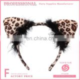 2017 China New Design Promotional Dacron And Plastic Women Sexy Leopard Cat Ear Headband
