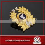 Eco-friendly High Quality Shiney Gold Plated Logo Enamel Centre Type And Military Cluth Type Promotion Cheap Custom Pin Badge