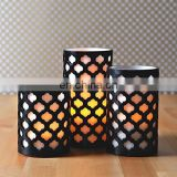 Set of 3 Moroccan Gate Flameless Wax LED Candles with Timer
