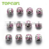 Topearl Jewelry Assorted Latest Design Bead Stainless Steel European Charm Bead Pink White Silver TCP05