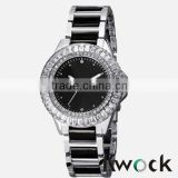 Lady Diamond Quartz Diamond and Crystal Black-tone and Silver-tone Stainless Steel Bracelet Watch                                                                         Quality Choice