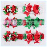 2016 Latest Christmas Decoration Hair Accessoory design baby girls christmas Ribbon bow Headbands
