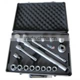 16pcs Aluminum alloy boxes with retractable ratchet handle emergency auto tool kit
