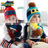 Wholesale Little Bear Sewed Glass Pattern Knitted Kids Boys Girls Winter Hat Scarf Set