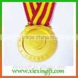 2015 newest die casting engraved medal gold silver plated medal badge