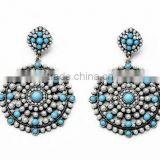 Big round statement flower pearl beads drop earring dress crystal indian dangle brincos ouro vintage bohemian 2015 earrings