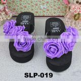 purple flower black summer slipper holiday nude beach slippers