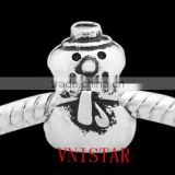 Vnisatr antique silver plated snowman shaped spacer beads for european bracelet wholesale PBD2571