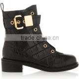 Black chunkyhigh heel ankle boots lace up boots buckle decoration high top shoes custom design boots