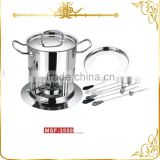 MSF-3550 Luxurious South America chocolate fondue set 11pcs stainless steel cheese fondue set special forks with different color
