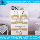 4 tier tallboy Cartoon printing baby storage plastic drawer                                                                                                         Supplier's Choice