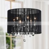 Alibaba Express Modern Crystal Chandelier Lighting Ceiling Pendant Hanging Lamp with Fabric Lampshade CZ1067/6B
