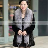 Women's 100% Real Mink Fur Coat with Whole Silver Fox Fur Collar