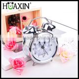 "3"" small battery operated metal quartz analog twin bell alarm clock"