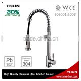 THUN Single handle spring loading lead free stainless steel kitchen faucet                                                                         Quality Choice