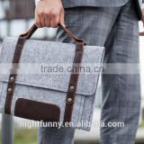 "Grey Felt MacBook Pro Case with extra pocket and leather handle. Leather Cover for MacBook 15"" PRO"
