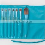 7p travel size blue natural goat hair makeup brush set/cosmetic brushes kit/private label free sample with a makeup brush pouch