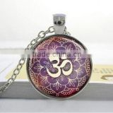 om yoga necklace Yoga Jewelry Purple Lotus Flower, Om Symbol, Buddhism, Zen Art Pendant - glass dome pendant necklace