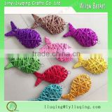 2016 New handmade willow weaving decorative colorful Wicker goldfish /Christmas tree decorations /Wicker gift crafts