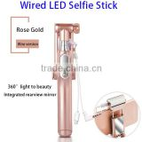 Bulk fom China Mini Monopod Wired Selfie Stick Cable with 360 Degree LED Light and Mirror