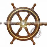 DECORATIVE WOODEN SHIP STEERING WHEEL 12""