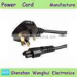 PVC Jacket Black color uk power cord with plug BSI Approval