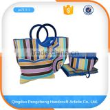 Handmade simple fashion straw beautiful beach bag with zipper                                                                                                         Supplier's Choice