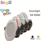 Hot New Products Android IOS wifi 5W RGB+W LED Downlight                                                                         Quality Choice
