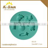 K-sun MINI baby feet head stroller mikl bottle duck fondant silicone mold