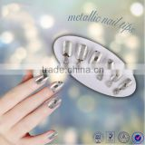 Wholesale metallic designated artificial nail art tips pre design full cover color manicure fake nail tips 12 pcs/box