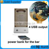 High capacity 13000mah double-side advertising mobile power bank for restaurants and cafe