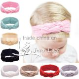 Latest fancy fashion knot girls elastic hair band / braided fabric wholesale lace turban headbands