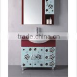 optionally bright paint PVC&MDF bathroom vanity cabinet(including Mirror &Ceramic basin)