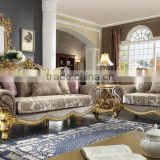 Vintage Arabic Style Solid Wood Gold Leaf Living Room Sofa/Golden Painting Saloon Furniture (MOQ=1 Set)