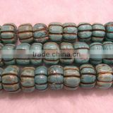 "16"" 12-16mm blue pumpkin shaped natural loose turquoise beads"