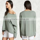 100% cotton Long Sleeves Boat Wide Neck Oversized Sweatshirt Sweaters For Women