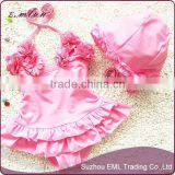Lovely design one piece nylon baby girl swimsuit Korea style children's swimwear