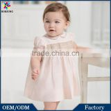 2015 Baby Frocks Designs Boutique Clothing Pink Cap Sleeve Fashion Girls Summer Smocked Party Dress