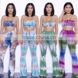 blue green g bell bottomed pants and top set /19 color xayn tie dye wide legging flare trousers and top two piece set