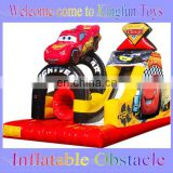Racing car inflatable obstacle courses for amusement