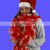 Hot selling red and white feather boa and santa hat sets christmas boa and hat set
