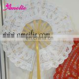 Round Shape-White Battenburg Lace Hand Fan