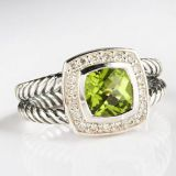 Sterling Silver Jewelry 7mm Peridot Petite Albion Ring(R-015)