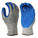 Cut Resistant Level 5 13G HPPE Fiberglass Liner Latex Crinkle Coated Cut Resistant Gloves with EN388 4544C