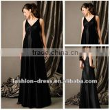 Hot Sale Beautiful Long Black V-neck Satin Maternity Bridesmaid Dress Patterns
