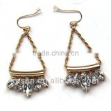 Clear Crystal Rhinestone Charm on Hoop Chain Jewelry Triangle Shape Fish Hook Fashion Earring