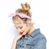 Elegant Lavender plaid fabric cloth rabbit ears bow elastic headbands for teenager girls