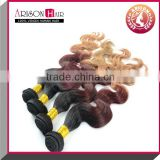 2015 hot sale fasion Malaysia 3 tone color ombre bundles 100% remy human hair extension
