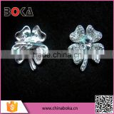 BOKA Silver Alloy Metal Four Leaf Clover Shoe buckle With Crystal Rhinestones, Rinestone Clover Shoe Buckles